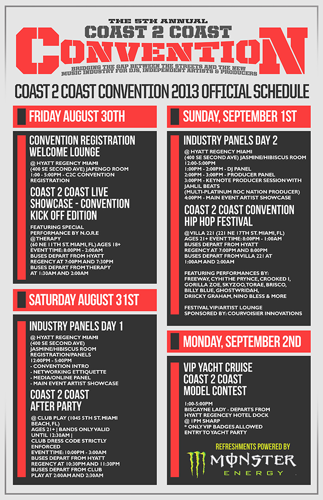 Coast 2 Coast Convention 2013 Schedule