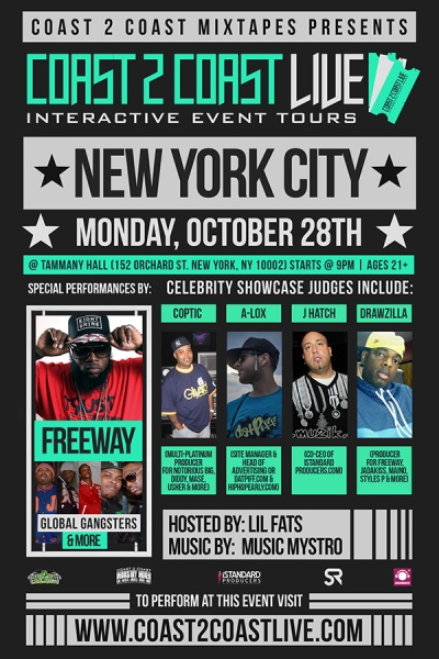 Coast 2 Coast LIVE NYC Edition 10/28/13 Feat. Freeway