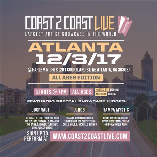 Coast 2 Coast LIVE Interactive Artist Showcase ATL ALL AGES 12/3/17