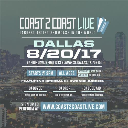 Coast 2 Coast LIVE Interactive Artist Showcase Dallas  Edition 8/20/17