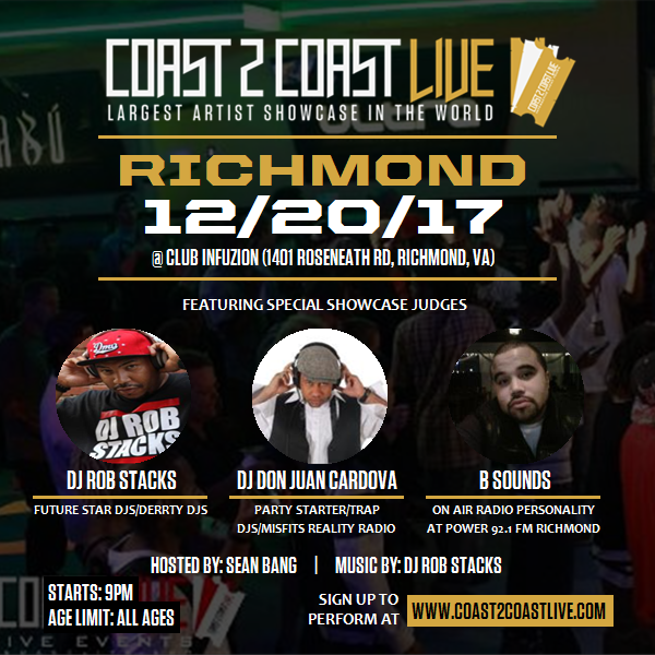 Coast 2 Coast LIVE Interactive Artist Showcase Richmond Edition 12/20/17