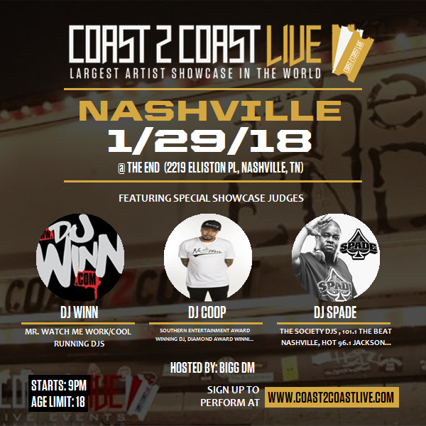 Coast 2 Coast LIVE Interactive Artist Showcase Nashville Edition 1/29/18